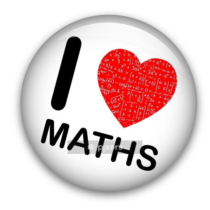 """I LOVE MATHS"" Pin (math mathematics equations tag badge button) Wall Decal - Wall decals"