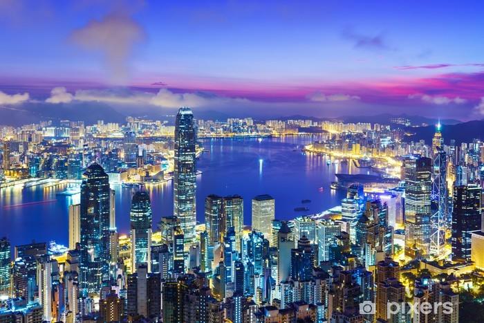 Sticker Pixerstick Hong Kong toits de la ville au lever du soleil - Asie