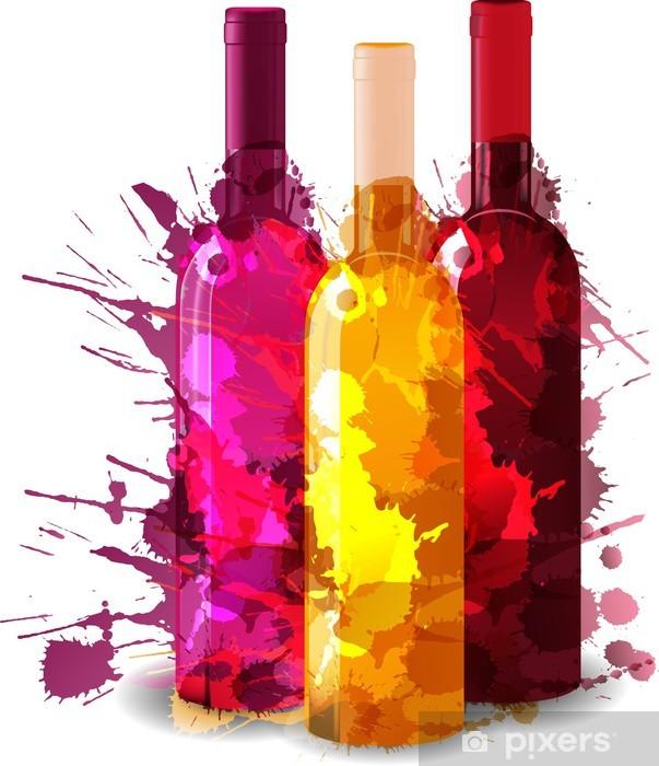 Sticker Pixerstick Groupe de bouteilles de vin vith grunge éclaboussures. Rouge, rose et blanc. - Sticker mural