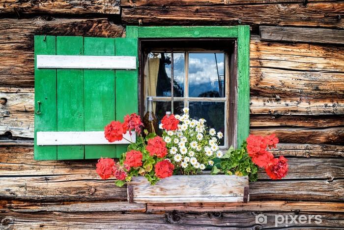 Papier peint fen tre d 39 une vieille cabane en bois pixers Changer une fenetre bois en renovation