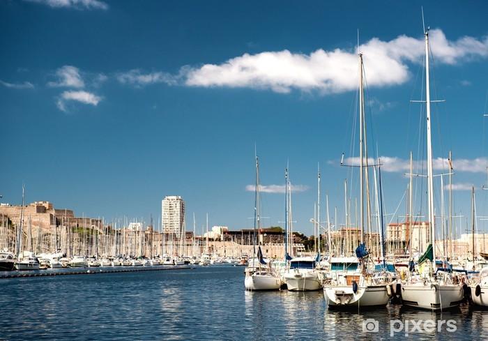 Pixerstick Sticker Oude haven van Marseille, Frankrijk - Europa