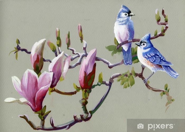 Painting collection Birds of spring Vinyl Wall Mural - Themes