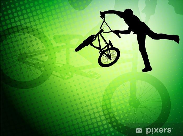 Papier peint vinyle Bmx silhouette de cycliste stunt sur le fond abstrait - vecteur - Cyclisme