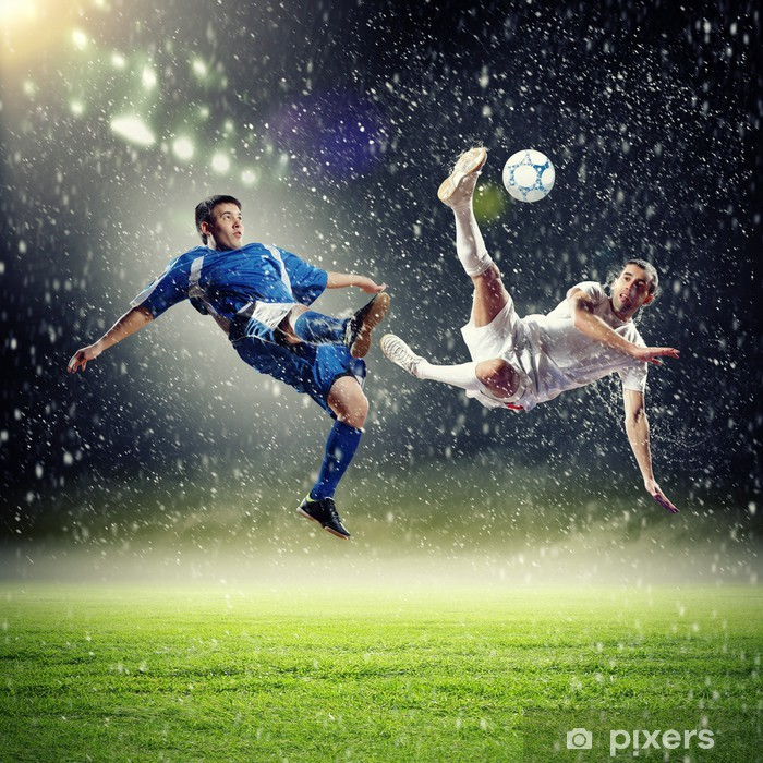 two football players striking the ball Pixerstick Sticker - Themes