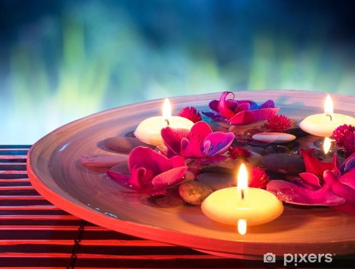 Dish spa with floating candles, orkidea, puutarhassa Pixerstick tarra - Terveys Ja Lääketiede