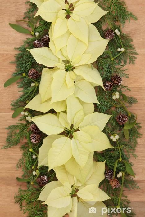 Fototapeta winylowa Poinsecja Flower Border - Święta międzynarodowe