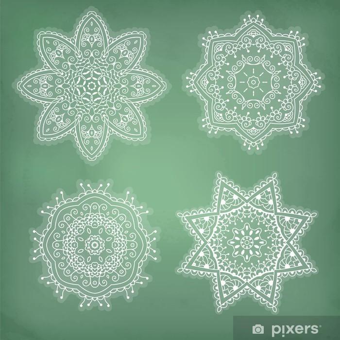 Papier peint vinyle Ensemble de arabesques. Dentelle ornement ethnique dans un cercle. Flocons de neige. - Abstrait