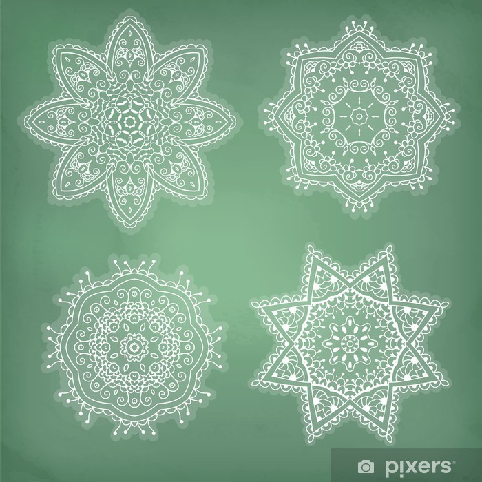 Set of arabesques. Lace ethnic ornament in a circle. Snowflakes. Vinyl Wall Mural - Abstract