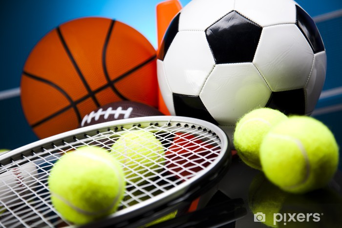 Sticker Pixerstick Quatre Sports, beaucoup de balles et des trucs - Tennis