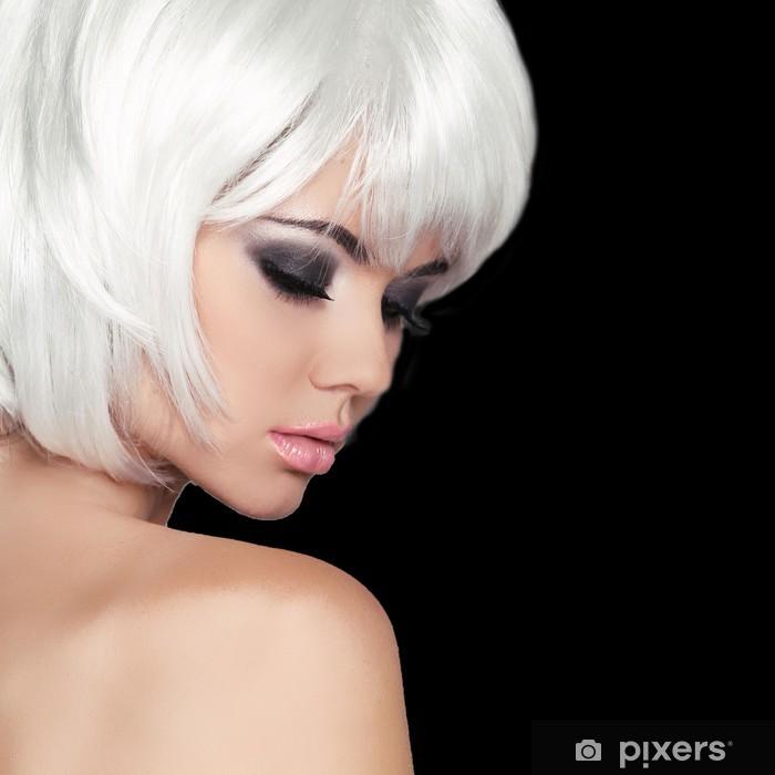 Carta da Parati in Vinile Moda Ritratto di bellezza della donna. Bianco  Capelli corti. 3aabdf111f26
