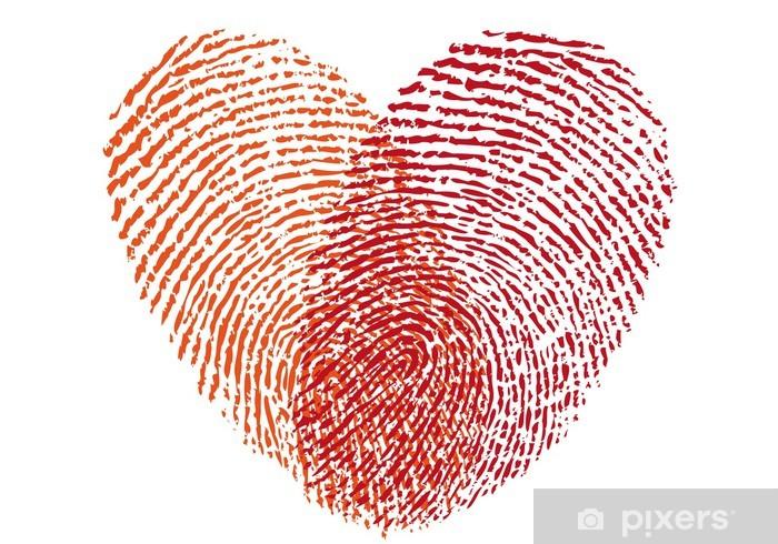 Papier peint vinyle Coeur d'empreintes digitales rouge, vecteur - Célébrations