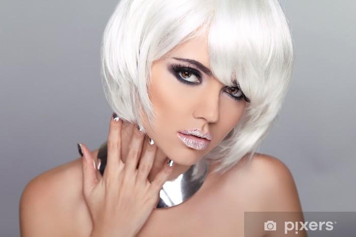 Fashion Beauty Blond Girl. Woman Portrait with White Short Hair. Pixerstick Sticker - Themes