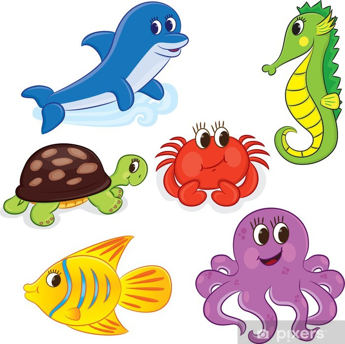 Set of cartoon sea animals. Vector illustration for coloring Poster - Aquatic and Marine Life