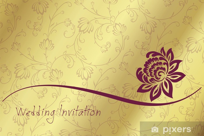 Water Lily Wedding Card Design India Wall Mural Vinyl