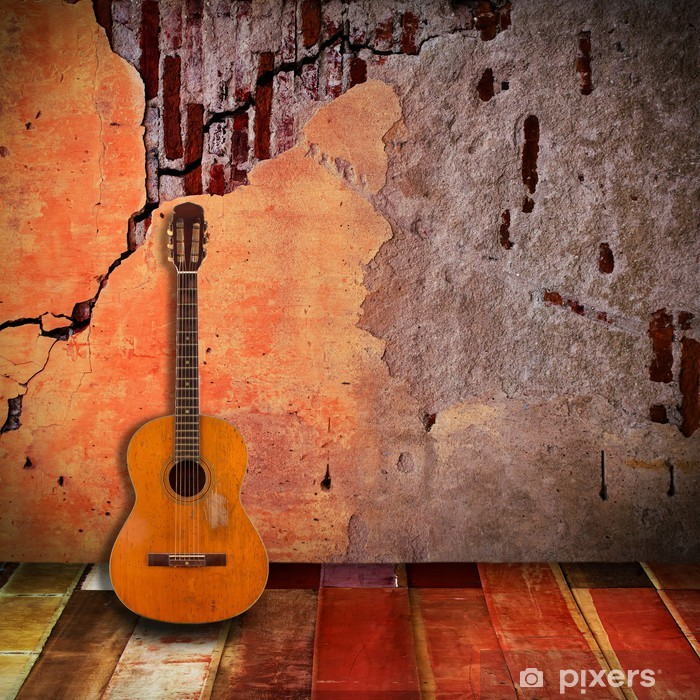 Wall Mural - Vinyl Old guitar with vintage room