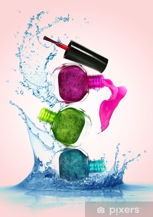 Bottles with spilled nail polish Vinyl Wall Mural - Fashion