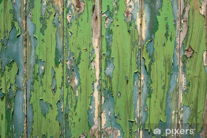 Nálepka Pixerstick Zelená a modrá barva peeling starý plot. - Pozadí