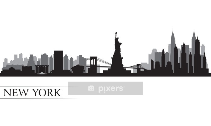 New York city skyline detailed silhouette Wall Decal - Wall decals