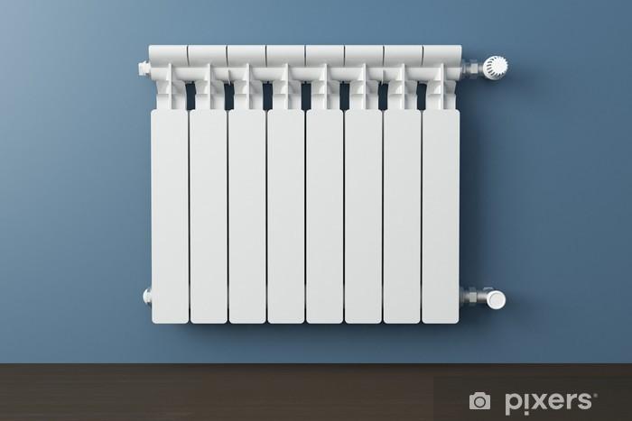 Papier peint vinyle Radiateur de chauffage dans une salle avec plancher en bois stratifié - Vente