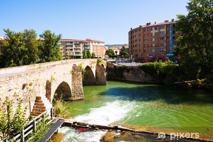 Papier peint vinyle Vieux pont sur la rivière Arga à Pampelune, Navarre - Europe
