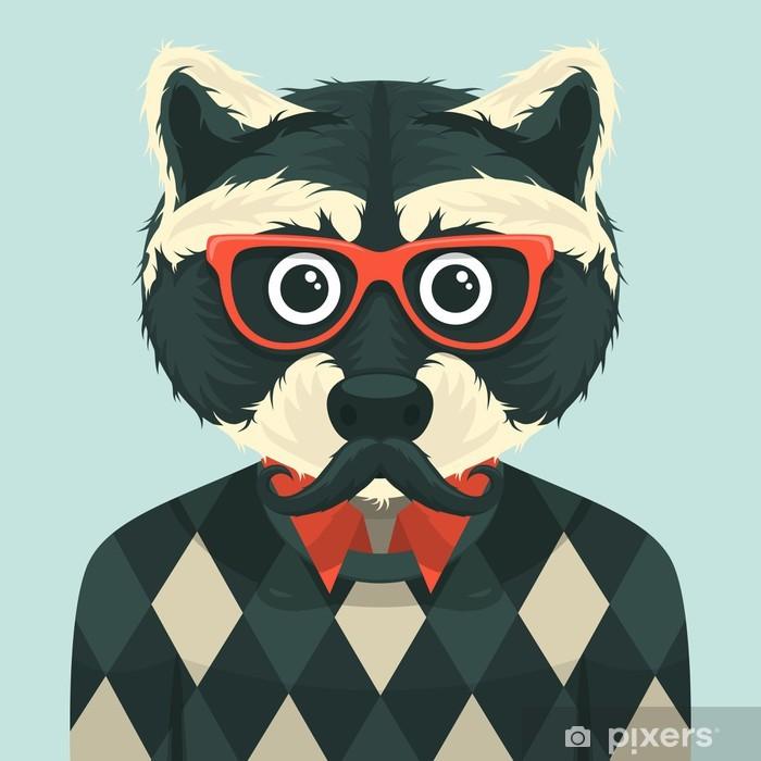 Hipster raccoon. Vector illustration. Pixerstick Sticker - Moustache