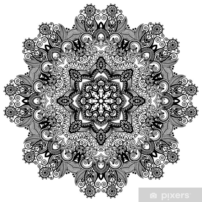 papier peint ornement de dentelle de cercle mod le de napperon ornement g om trique ronde. Black Bedroom Furniture Sets. Home Design Ideas