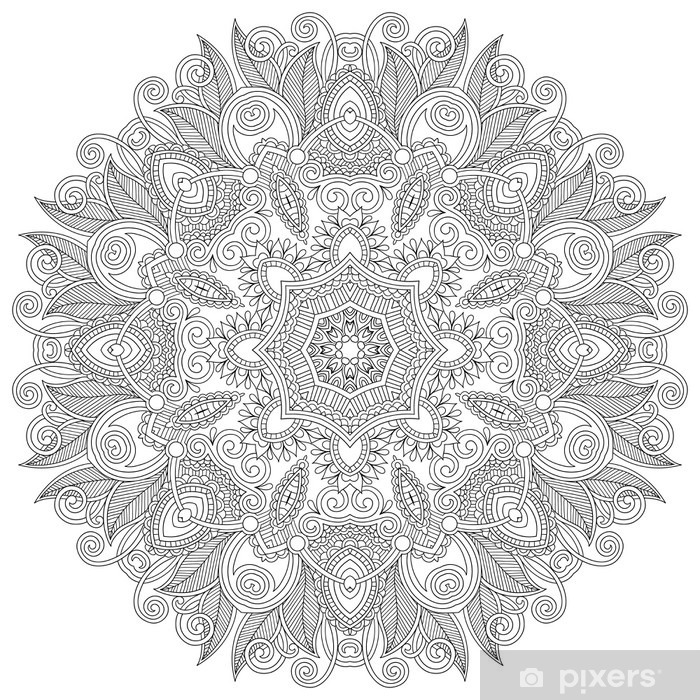 Circle lace ornament, round ornamental geometric doily pattern, Self-Adhesive Wall Mural - Wall decals