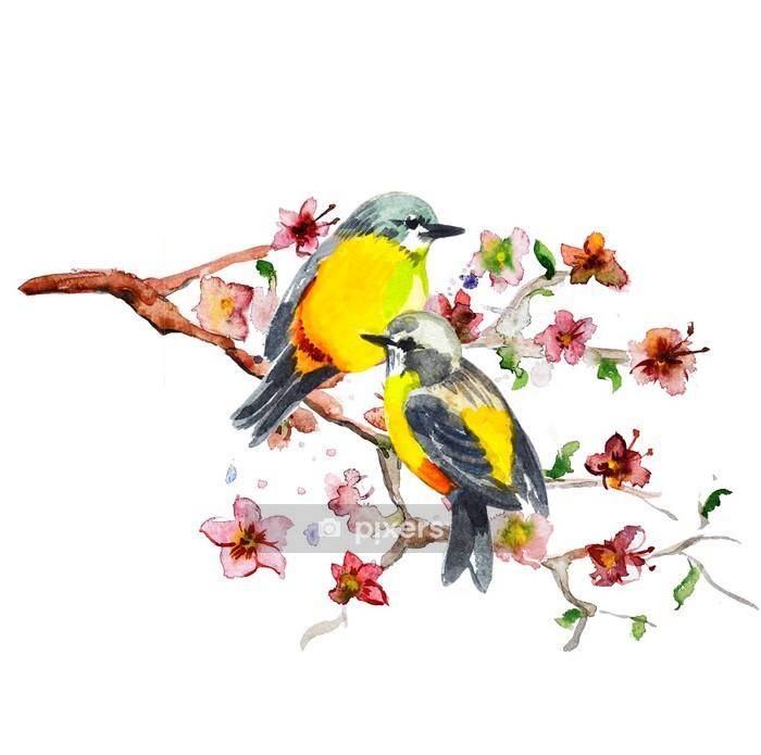 watercolor drawing of cute bird Wall Decal - Birds