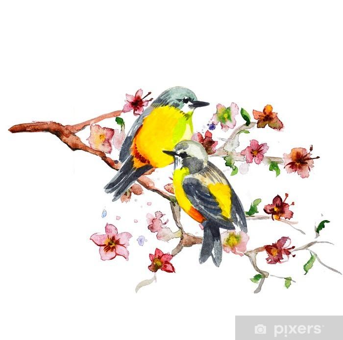 Naklejka Pixerstick Rysunek akwarela cute ptaka - Ptaki