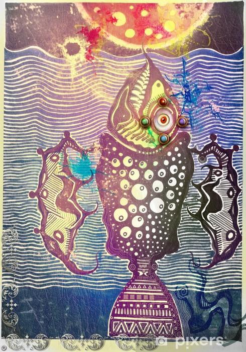Naklejka Pixerstick Psychedelic ryby święte - Ezoteryka