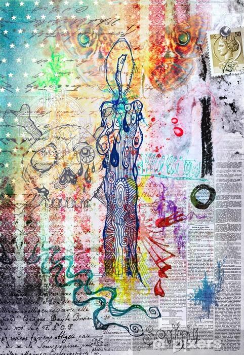 Fototapet av Vinyl Bakgrund med graffiti och ljus - Konst & skapande