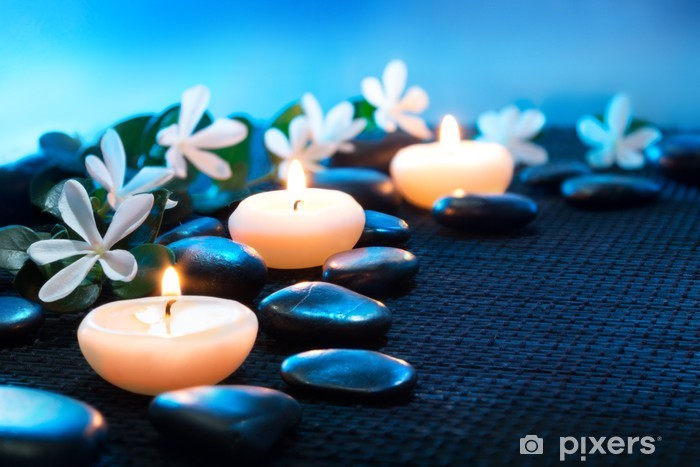 candles and black stones on black mat Pixerstick Sticker - Destinations