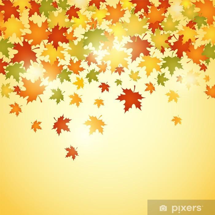 Fototapeta winylowa Jesienią tła z liśćmi. Ilustracja wektorowa - Kwiaty