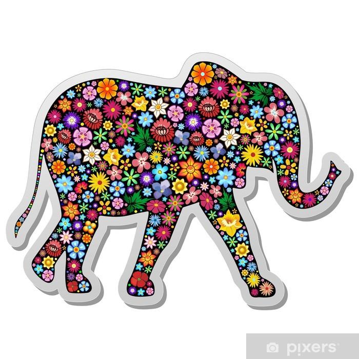 Poster Elephant-Elefante Autocollant floral Floreale Colle - Mammifères