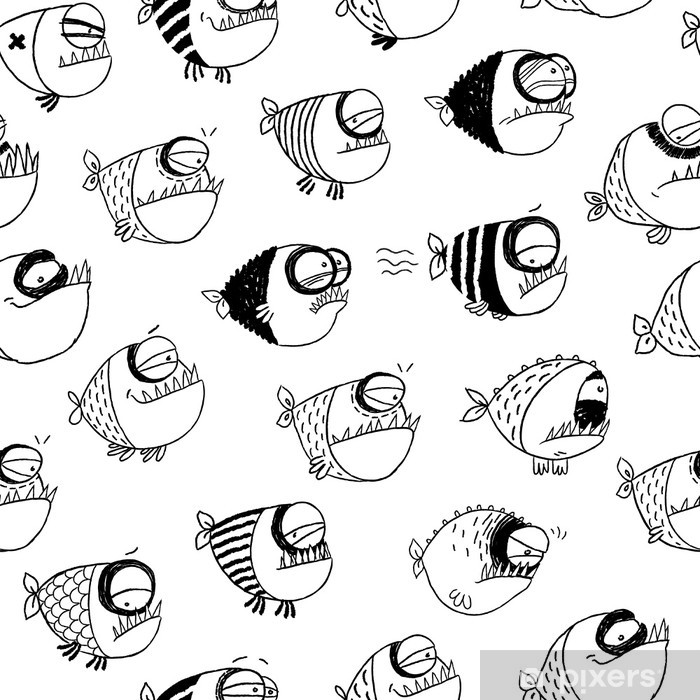 Poster Nahtlose Muster mit lustigen Fisch - Hintergründe