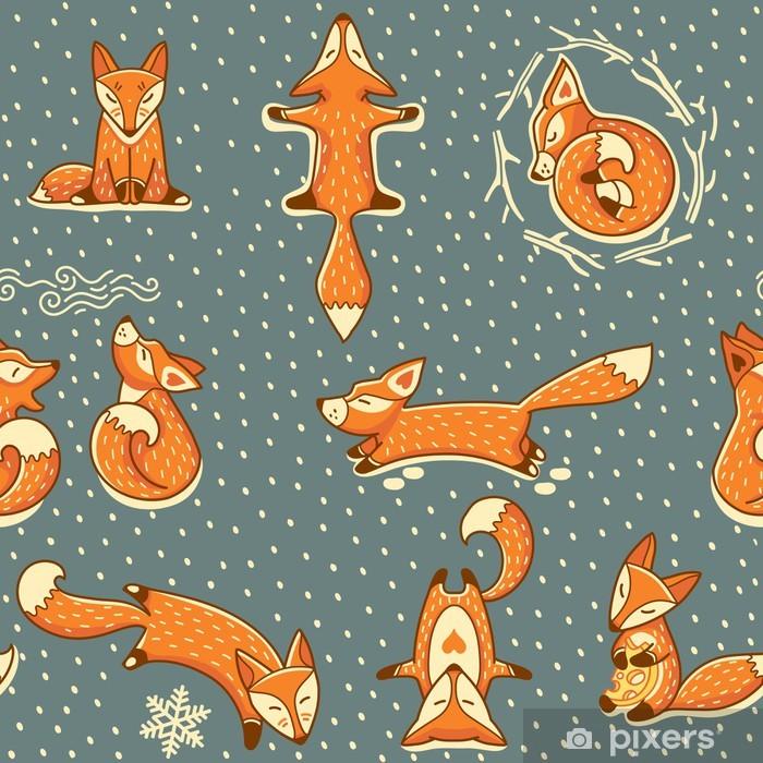 Vinyl Fotobehang Kerst naadloze patroon met rode kleine vossen - Stijlen