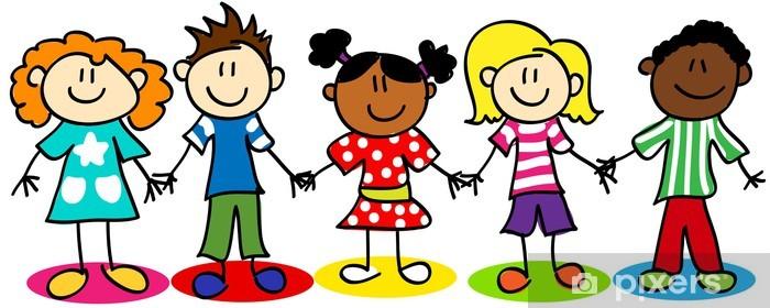 Fototapeta winylowa Rysunek Stick różnorodności etnicznych dzieci - Szczęście