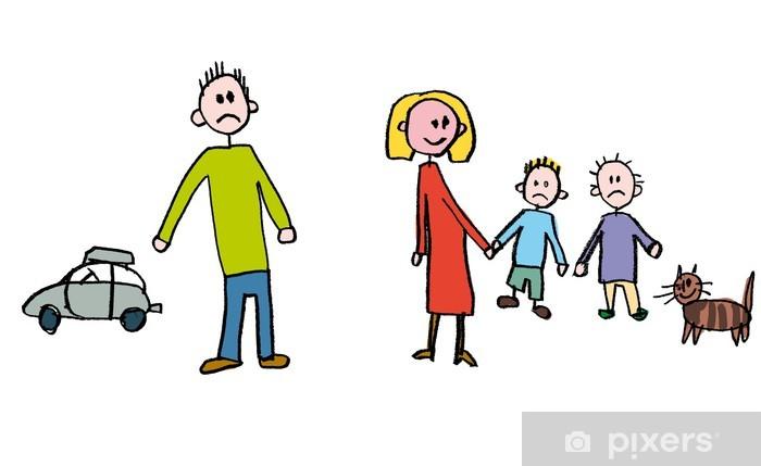 Papier peint vinyle Les enfants de dessin séparation de la famille - Vie de famille