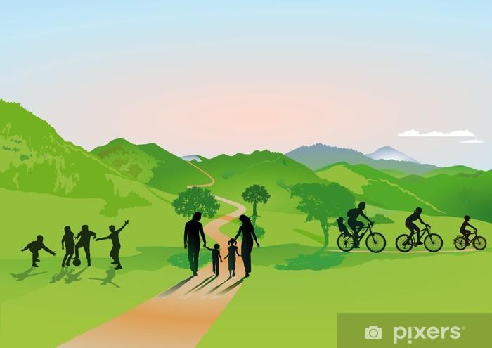 Naklejka Pixerstick Rodziny w górach - Sporty na świeżym powietrzu
