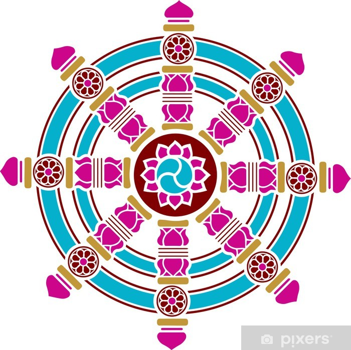 Plakat Dharma Chakra, Rad, Gluck Symbol, Buddhismus - Religie