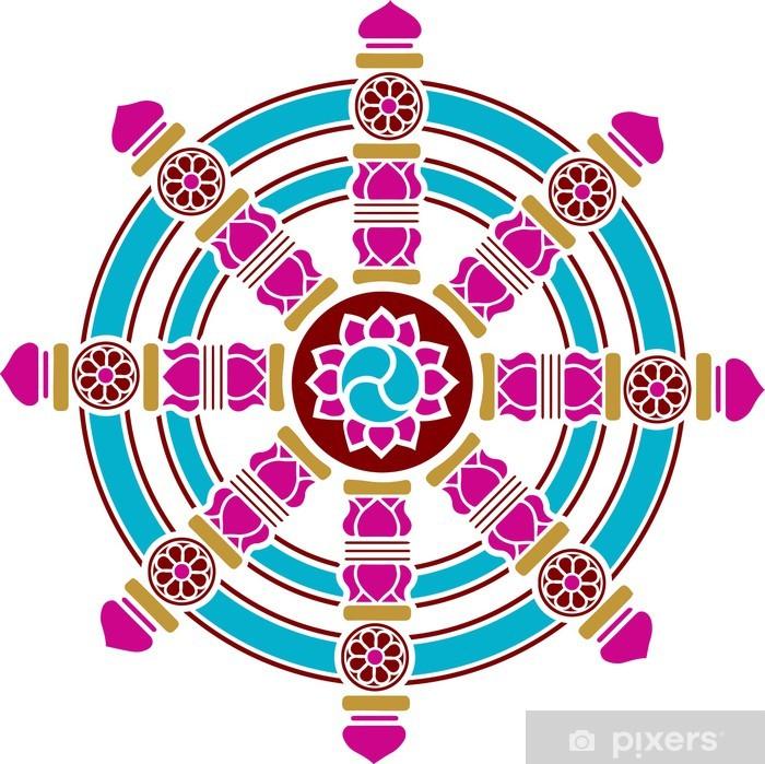 Poster Dharma Chakra, Rad, Symbole Gluck, Buddhismus - Religion