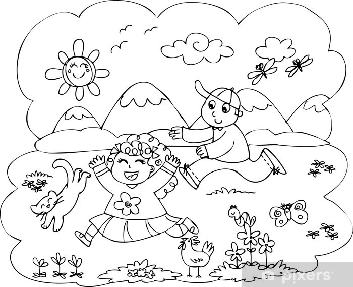 Vinilo Niños Para Colorear Jugando En El Campo Pixerstick