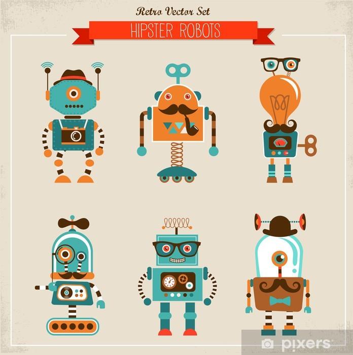 Pixerstick Sticker Reeks uitstekende hipster robot iconen - Snor