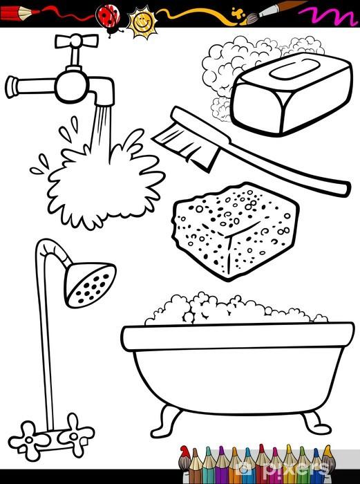 Vinilo Pixerstick Higiene De Dibujos Animados Para Colorear Objetos