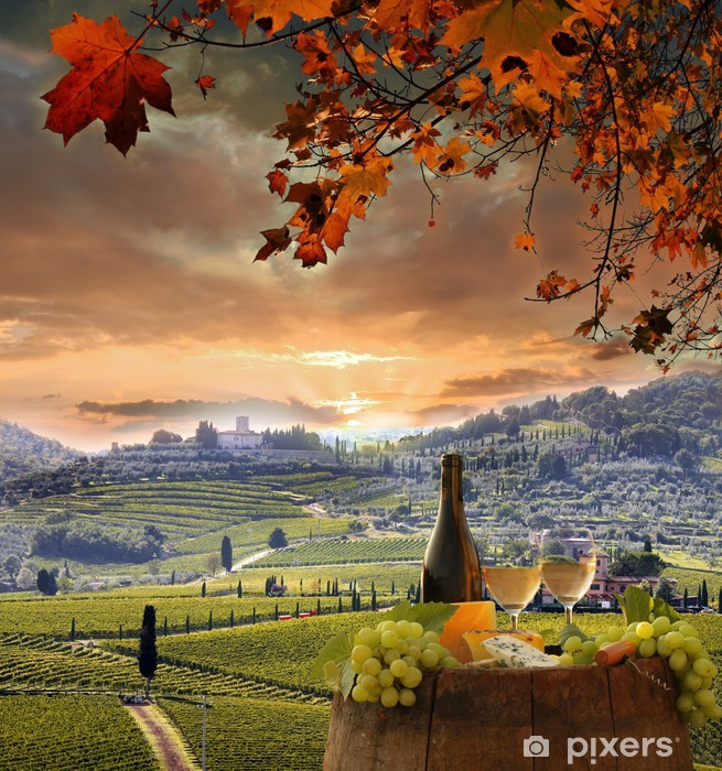 White wine with barell in vineyard, Chianti, Tuscany, Italy Vinyl Wall Mural - Europe