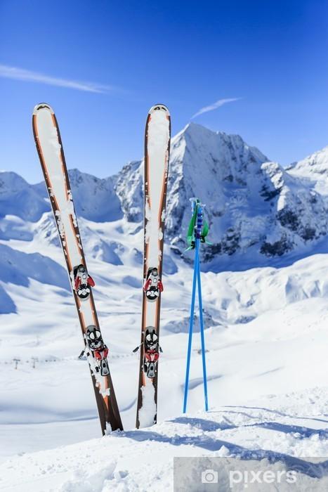 Nálepka Pixerstick Lyžařské, zimní sport - běh na lyžích v italských Alpách - Lyžování