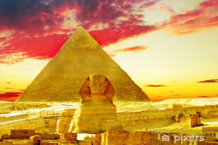Great Pyramid of Pharaoh Khufu, located at Giza and the Sphinx. Vinyl Wall Mural - Monuments