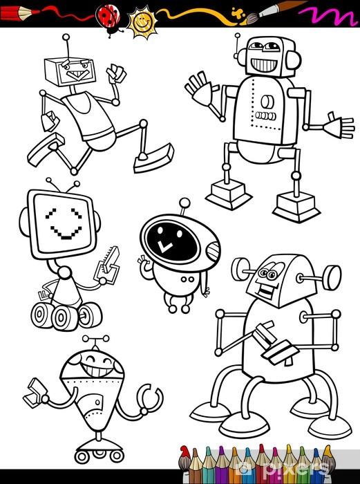 Vinilo Pixerstick Robots Juego de Cartoon para libro para colorear ...