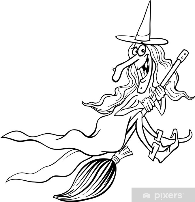 witch cartoon for coloring book Pixerstick Sticker - International Celebrations