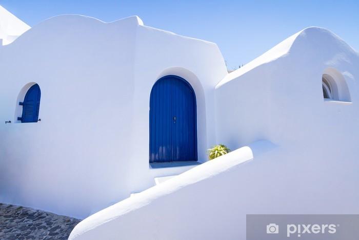 Vinilo Pixerstick Arquitectura blanca de la ciudad de Fira en la isla de Santorini, Grecia - Europa